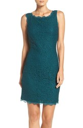 Adrianna Papell Women's Boatneck Lace Sheath Dress Hunter