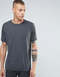 Weekday Dark Raw Edge T Shirt Grey Melange