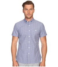 Todd Snyder Short Sleeve Mini Check Button Up Blue Men's Short Sleeve Button Up