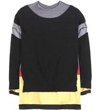 Undercover Wool And Satin Sweater Black