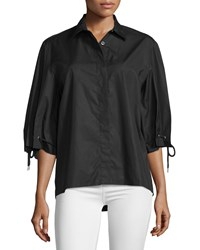 See By Chloe Drawstring Half Sleeve Top Black