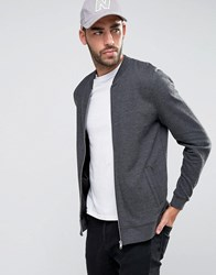 Asos Jersey Bomber Jacket In Charcoal Charcoal Marl Grey
