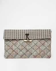 Maison Scotch Quilted Printed Clutch Bag Pinkmulti