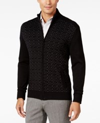 Alfani Men's Dash Line Full Zip Sweater Only At Macy's Deep Black Combo