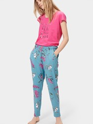 Joules Erica Jersey Pyjama Bottoms Soft Teal Hedgerow