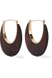 Kenneth Jay Lane Gold Tone And Faux Wood Earrings Metallic