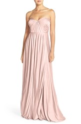 Women's Jenny Yoo 'Demi' Convertible Strapless Pleat Jersey Gown Stardust Rose