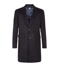Hardy Amies Wool Cashmere Overcoat Male Navy