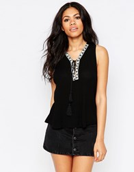Daisy Street Vest With Tassel Tie And Embroidered Trim Black