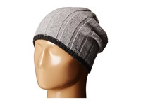 Michael Michael Kors Tipped Wide Rib Slouchy Beanie Heather Charcoal Beanies Black