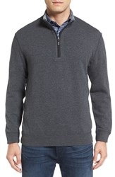 Bugatchi Men's Quarter Zip Knit Pullover Sweater Charcoal