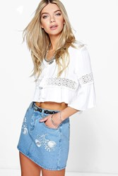 Boohoo Embroidered Western Denim Skirt Blue