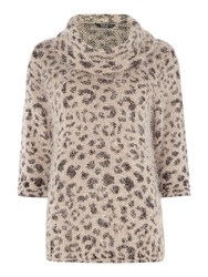 Tigi Furry Animal Print Jumper Brown