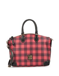 Dooney And Bourke Tucker Plaid Leather Satchel Red