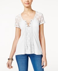 American Rag Crochet Trim Waffle Knit Top Only At Macy's Off White