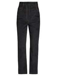 Isa Arfen Velvet Touch Denim Straight Leg Cropped Jeans Black