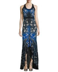 Roberto Cavalli Sleeveless Floral Star Print Jersey Gown Blue
