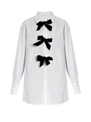 See By Chloe Decorative Bow Cotton Poplin Shirt White Black