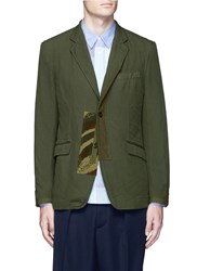 Comme Des Garcons Homme Camouflage Print Patchwork Twill Blazer Green