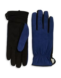 Isotoner Sherpa Lined Suede Gloves Royal Blue