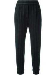 Brunello Cucinelli Pinstripe Cropped Trousers Blue