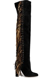 Brian Atwood Horsy Metallic Fringed Suede Over The Knee Boots Black