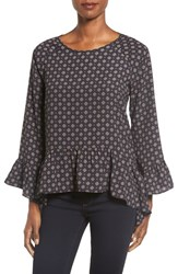 Gibson Women's Bell Sleeve Ruffle Hem Blouse Navy Diamond Print