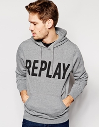 Replay Hooded Sweatshirt Large Logo Print Grey