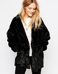 Just Female Mawi Faux Fur Coat In Black Black