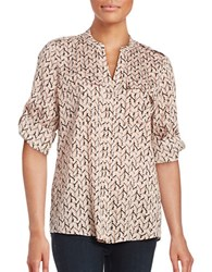 Calvin Klein Patterned Roll Tab Blouse Black