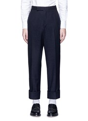 Thom Browne Boucle Accent Wool Blend Pants Blue