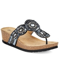 White Mountain Blast Beaded Wedge Thongs Women's Shoes Black Multi