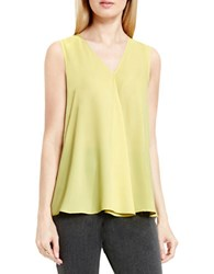 Vince Camuto Sleeveless V Neck Drape Front Blouse Shadow Green