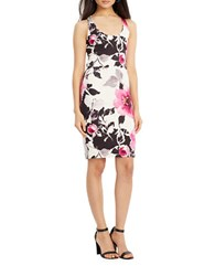 Lauren Ralph Lauren Criscross Ponte Dress White Pink Multi