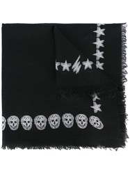 Alexander Mcqueen Stars And Skulls Embroidered Scarf Black