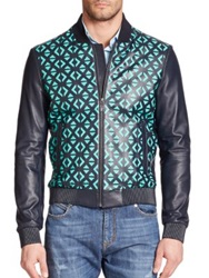 Versace Geometric Laser Cut Leather Jacket Teal Multi