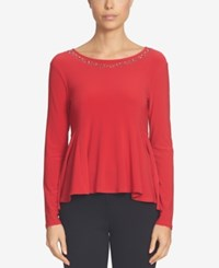 Cece Embellished Peplum Top Radiant Red