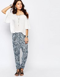 Rokoko Harem Trousers In Paisley Print Blue