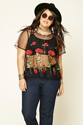 Forever 21 Plus Size Embroidered Mesh Top