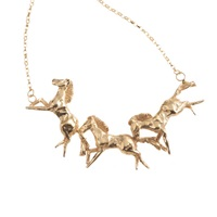 By Emily Galloping Horse Necklace Gold