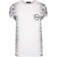 River Island Mens White Aztec Side Print T Shirt