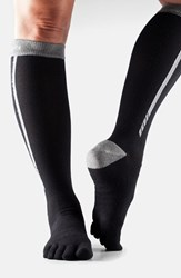 Women's Toesox Knee High Compression Sport Socks Black 4Am