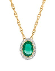 Lord And Taylor Emerald Diamond 14K Yellow Gold Pendant Necklace