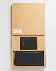 Asos Gift Set With Leather Passport Cover And Travel Wallet Black