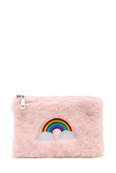Forever 21 Rainbow Embroidered Coin Purse Pink Multi