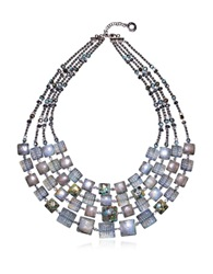 Antica Murrina Veneziana Atelier Byzantium Grey Murano Glass And Silver Leaf Choker Gray