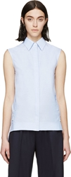 Paco Rabanne Blue Sleeveless Oxford Shirt