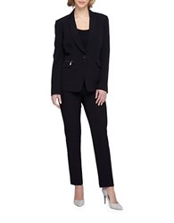 Tahari By Arthur S. Levine Plus Pinstripe Pant Suit Black