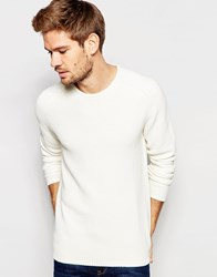 Selected Homme Textured Knitted Crew Neck Jumper Beige