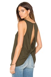 Bobi Light Weight Jersey Open Back Scoop Neck Tank Olive